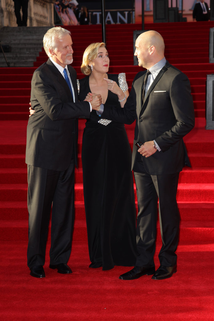 Kate Winslet, Billy Zane, and James Cameron on the red carpet of the Titanic 3D world premiere in London.