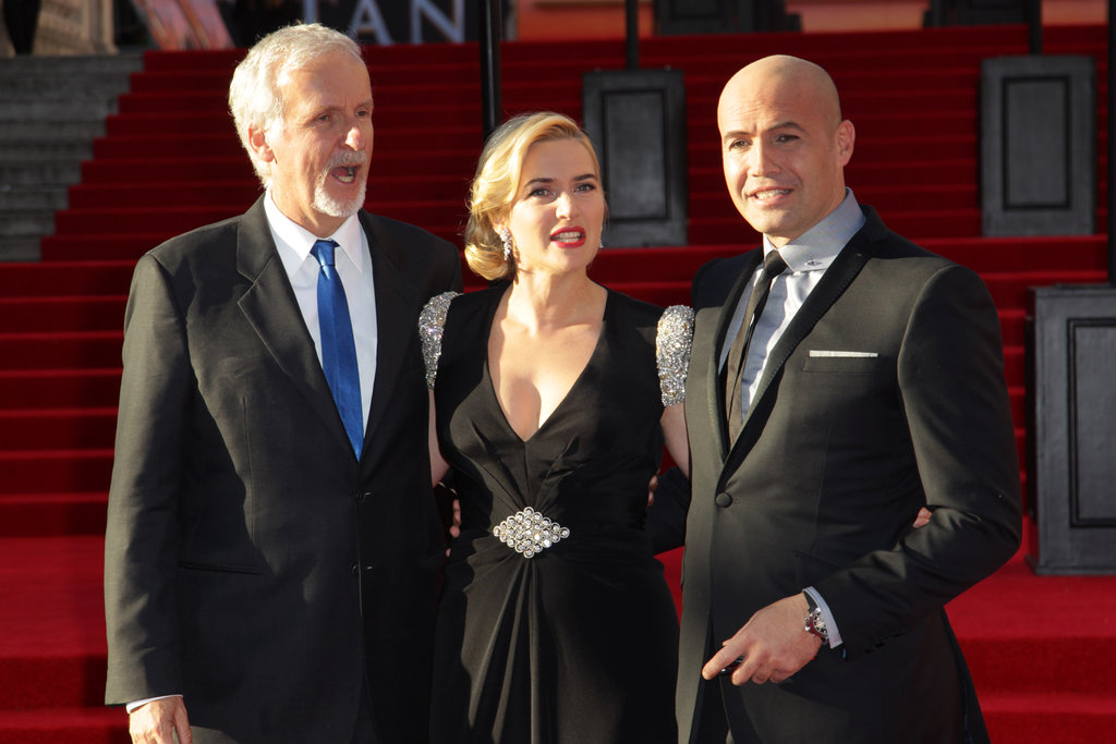 Kate Winslet posed with director James Cameron and Billy Zane at the Titanic 3D world premiere in London.
