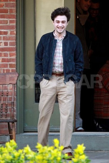 Daniel Radcliffe in 40s costume on set in NYC.