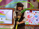 Johnny Depp doused the audience in slime while onstage in 2011.