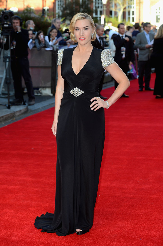 Kate Winslet dazzled in a black v-neck dress at the Titanic 3D world premiere in London.