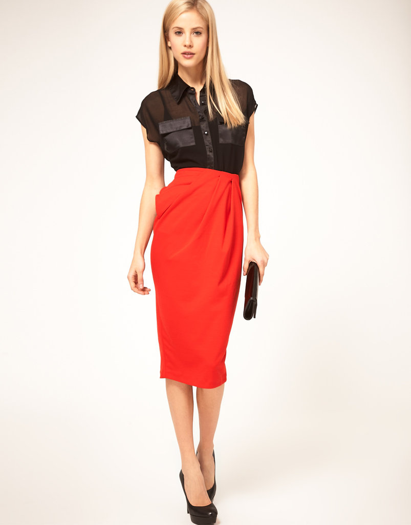 A statement kind of pencil skirt that hugs your curves in all the right places.  Asos Twist Front Ponti Pencil Skirt ($63)