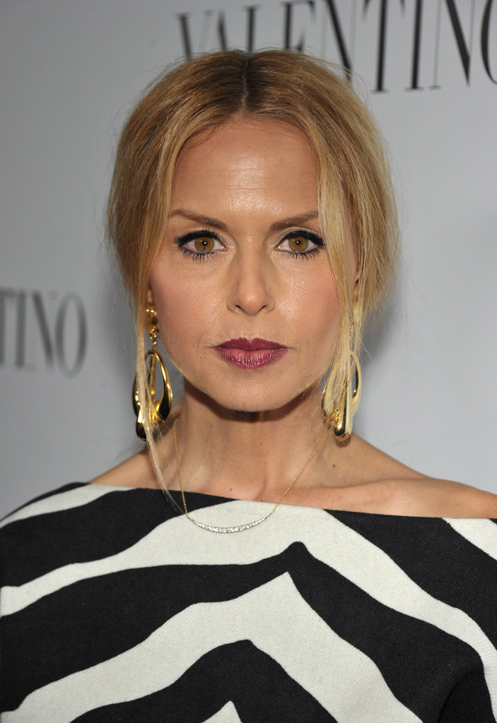 Rachel Zoe wore oversized gold earrings to the celebrations for Valentino's 50th anniversary in LA.