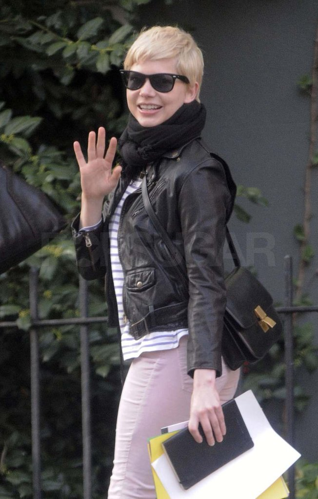 Michelle Williams waved in Brooklyn.