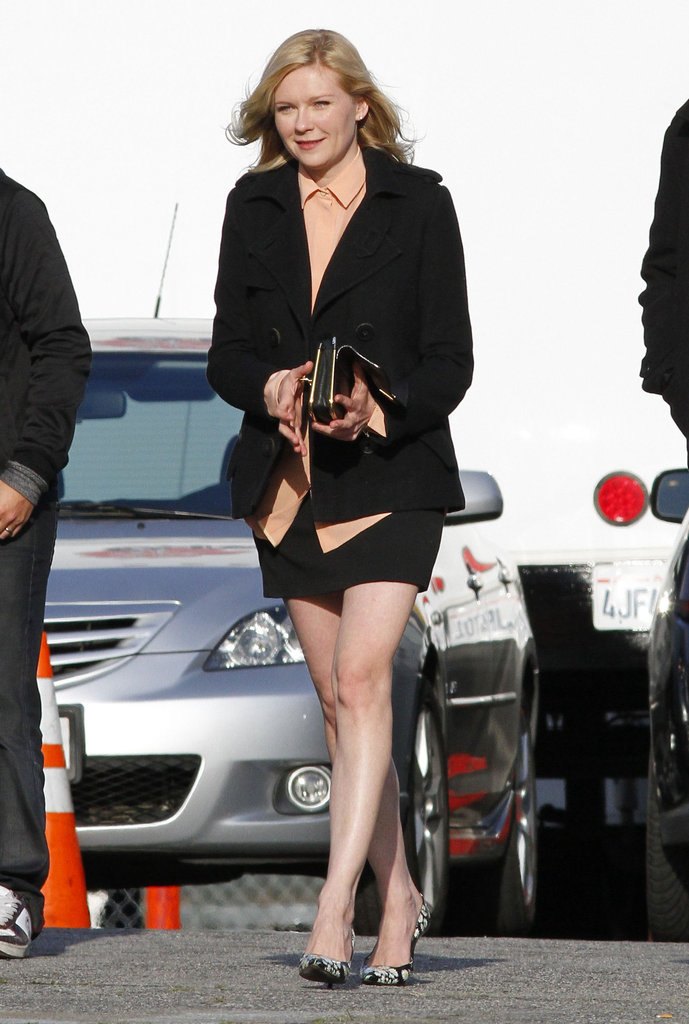 Kirsten Dunst on set in LA.
