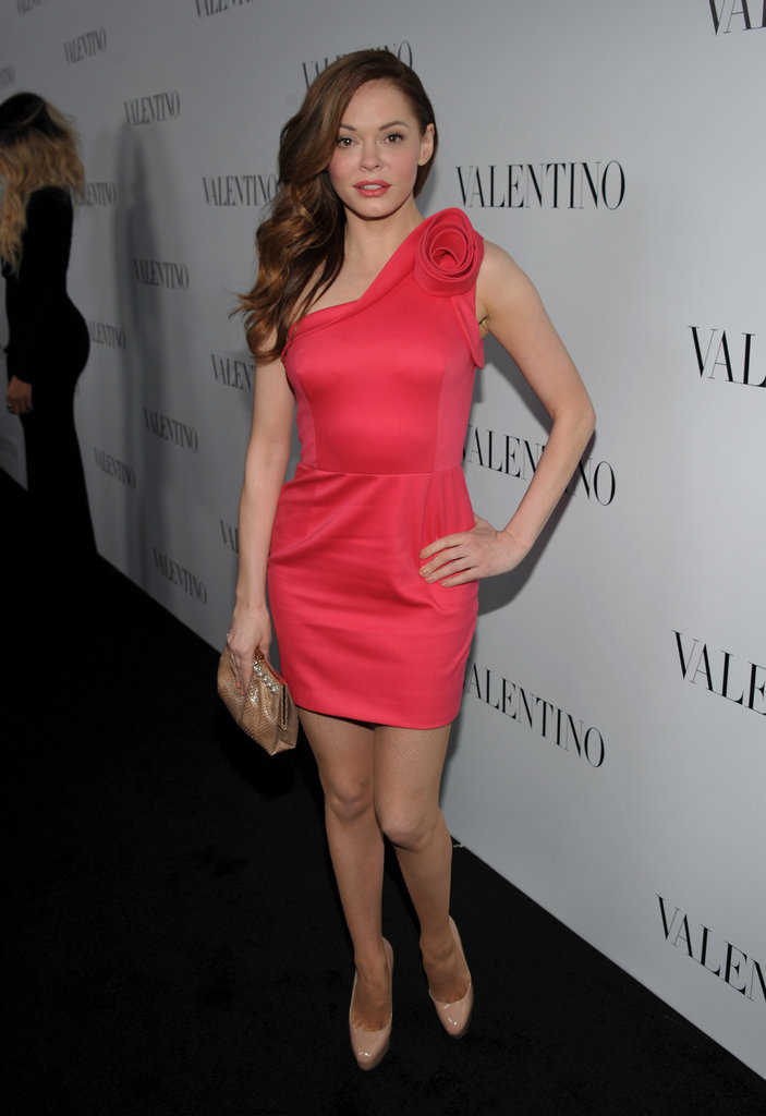Rose McGowan wore a pink one-shoulder dress for Valentino's 50th anniversary in LA.