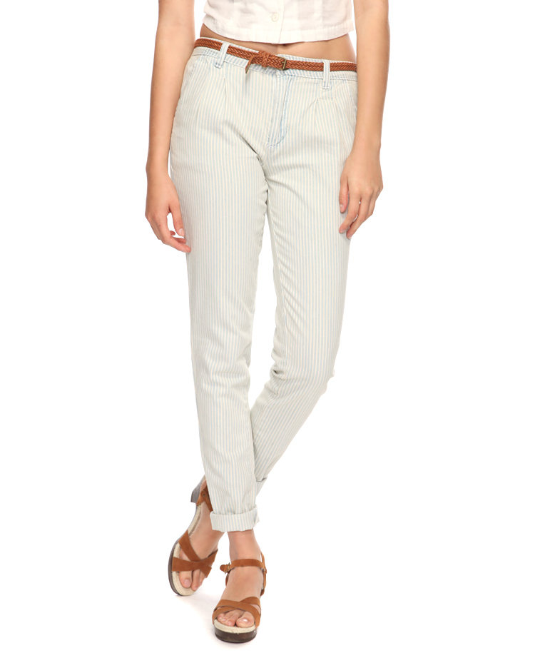 We love this subtle rendition of washed-out railroad stripes against a cuffed trouser shape. Forever21 Railroad Striped Trousers With Belt ($23)