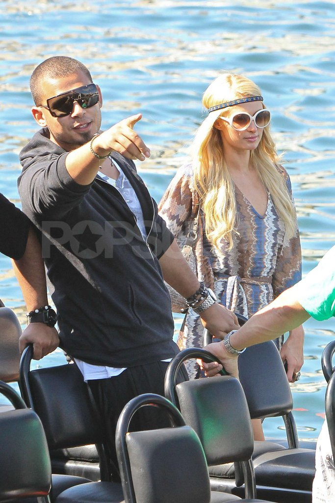 Paris Hilton and boyfriend DJ Afrojack took a boat ride around Sydney Harbor in Australia.