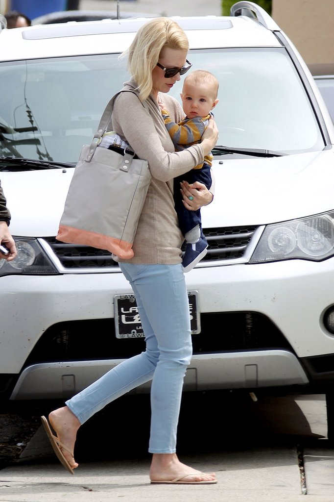 January Jones carried her son Xander while heading to the doctor's office in LA.