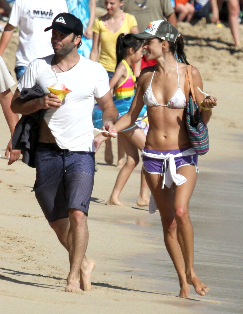 Alessandra Ambrosio wore a bikini on vacation in Hawaii with fiancé Jamie Mazur in August 2011.