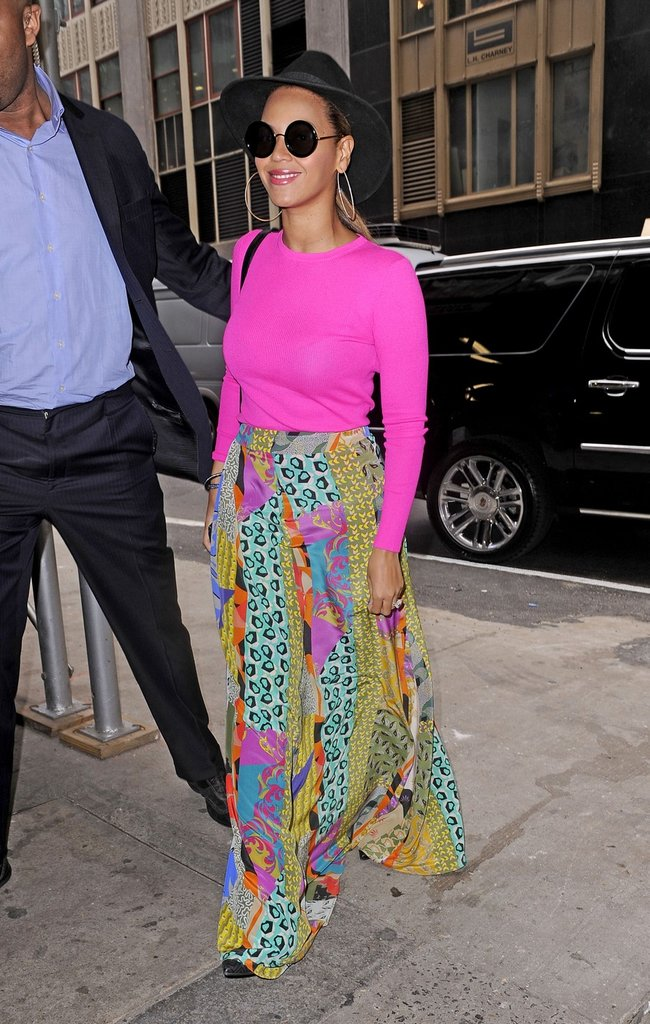 Beyoncé wore a bright Spring ensemble in NYC.