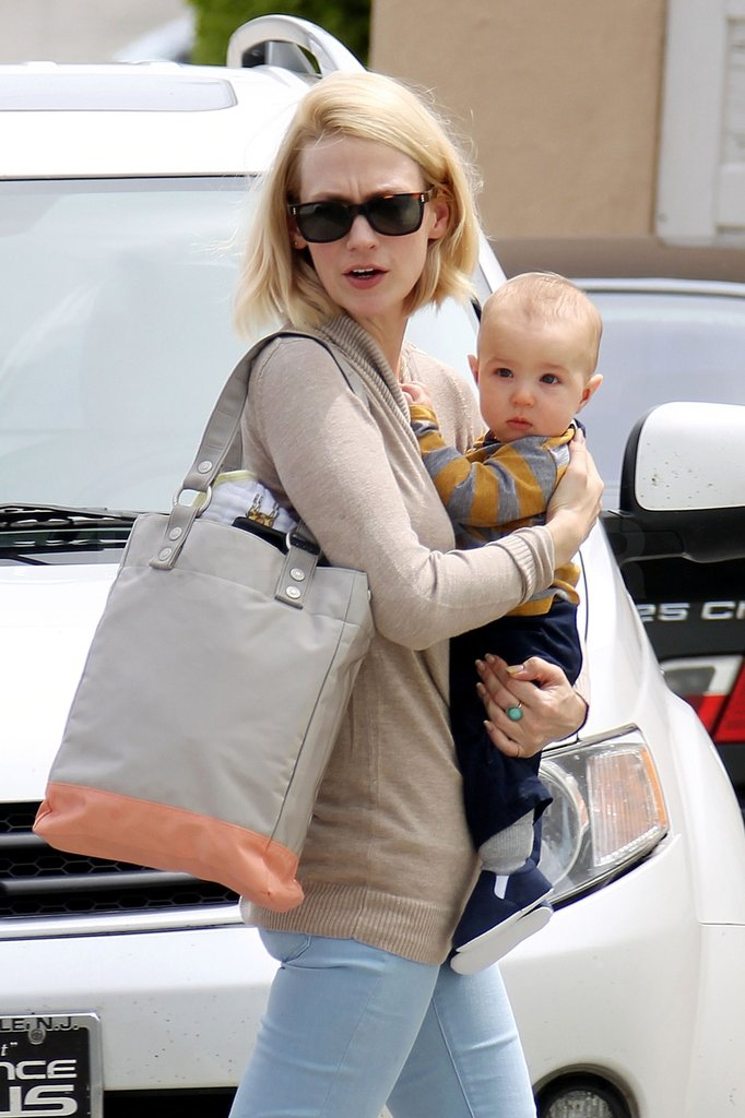 January Jones held her son Xander while heading to the doctor's office in LA.