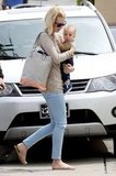 January Jones Sports Pastels Upon Returning to LA With Baby Xander
