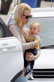 January Jones and her son Xander took a trip to the doctor's office in LA.