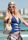 Paris Hilton wore a blue bathing suit in Australia.