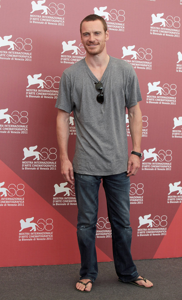 Flip-flops were the name of the game for Michael Fassbender during a September 2011 photocall for Shame in Venice.