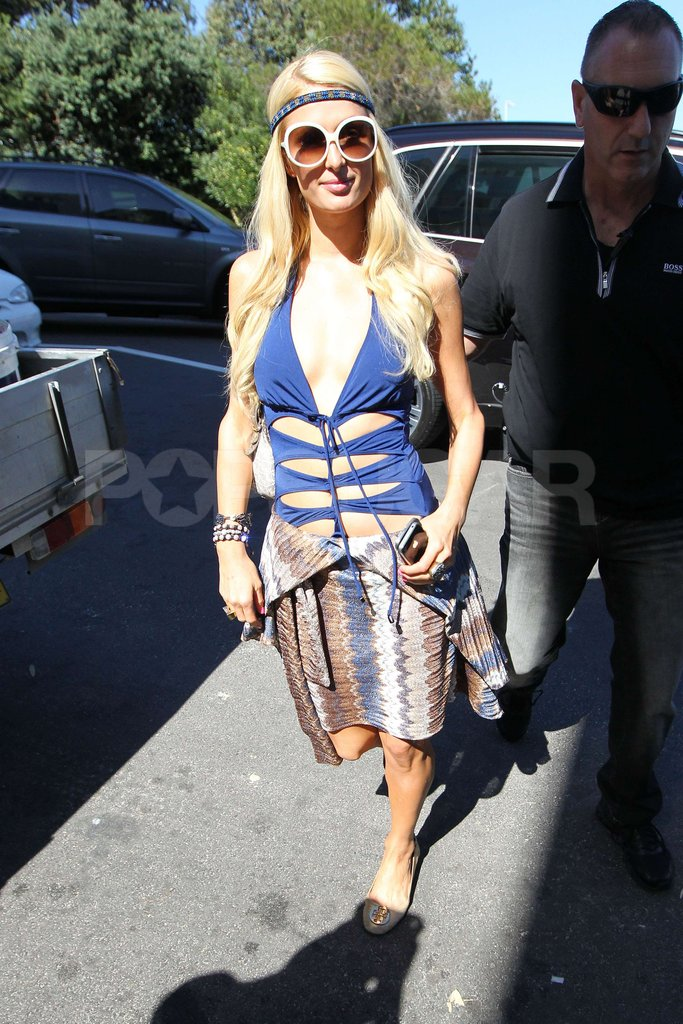 Paris Hilton wore a blue bathing suit and white sunglasses in Australia.