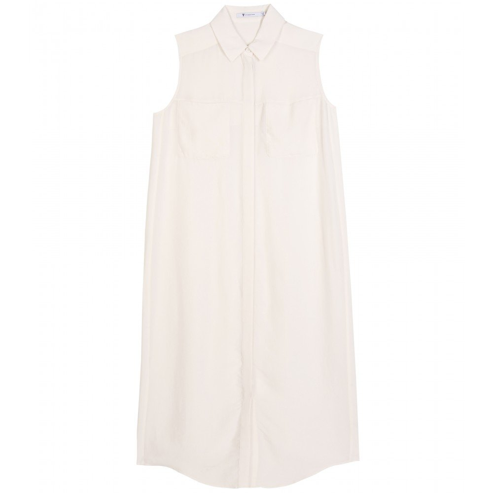 Wear-With-Everything Shirt Dress Trade your heavier wool-knit dresses for something altogether light, breezy, and neutral. This pointed-collar version adds chic detail to the minimalist ensemble — and it won't be going out of style anytime soon.   T by Alexander Wang Sleeveless Silk Shirt Dress ($169, originally $279)
