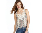 Flirty Floral Crop Top Floral metallics, a cropped shape, and a lace neckline? Looks like the perfect medley of Spring style elements. Wear this with high-waisted shorts or tailored trousers for more structure. American Rag Sleeveless Lace Floral Lace Print Crop Top ($14, originally $39)
