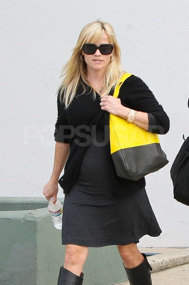 Reese Witherspoon wore an oversize black and yellow bag out in LA.