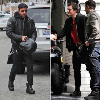 Orlando Bloom Fixing Motorcycle Pictures