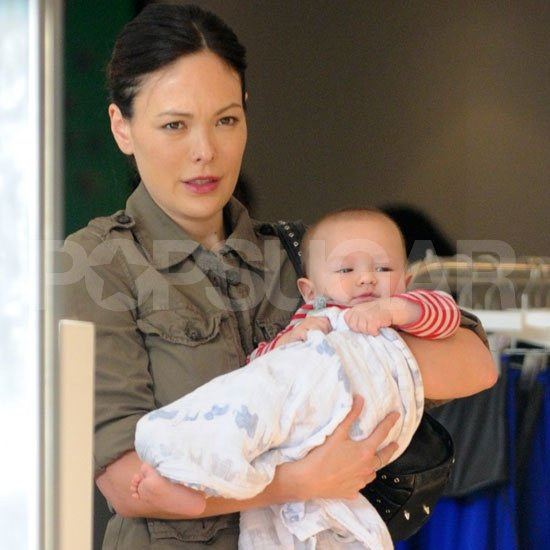 Lindsay Price and son Hudson Stone shopping in LA.