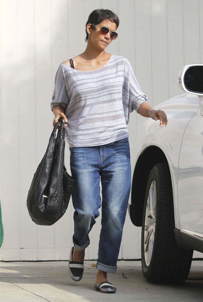 Halle Berry wore a striped shirt.