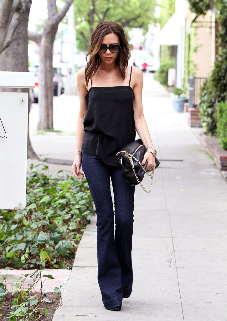 Victoria Beckham reminded us just how amazing a pair of flares can look with heels and a breezy tank.