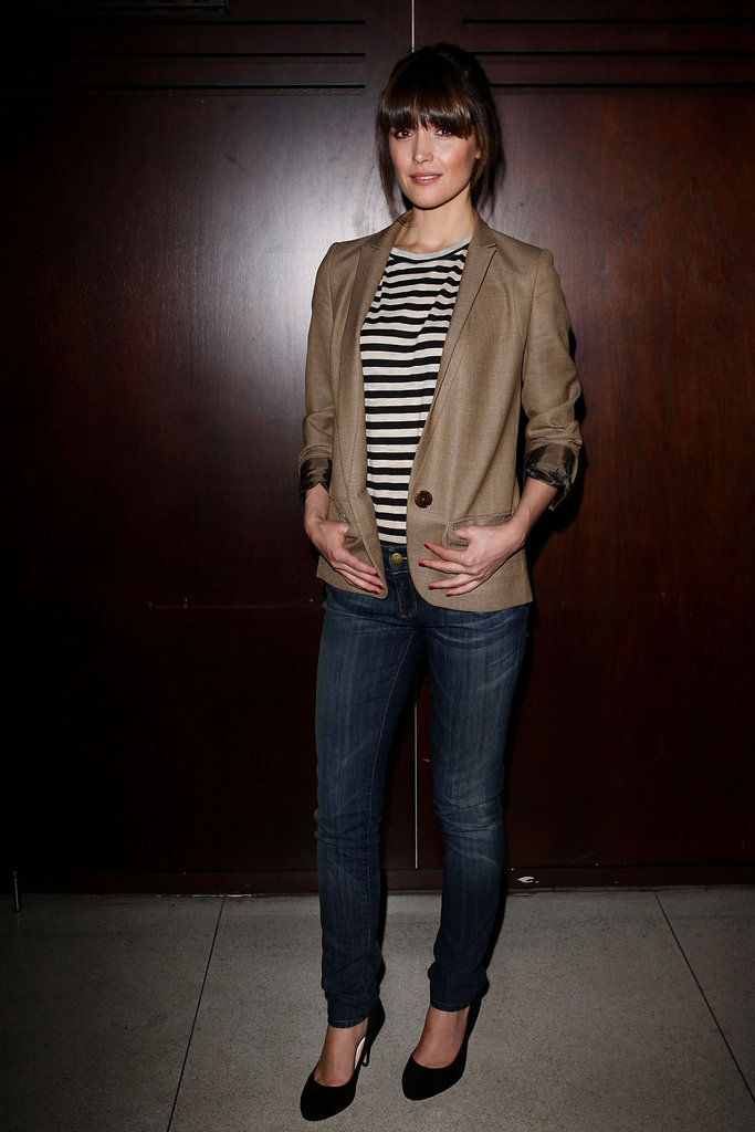 We love Rose Byrne's preppy take on denim in a striped top and camel blazer.