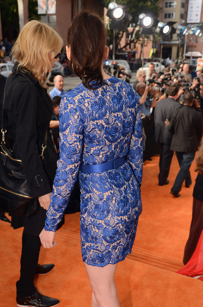 Kristen Stewart's blue lace Stella McCartney dress from the back.
