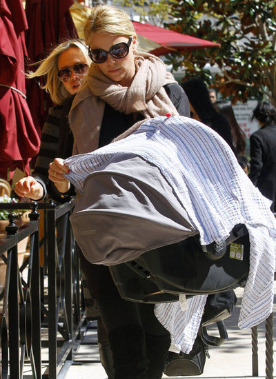 Charlize Theron out for lunch with her mom and son.