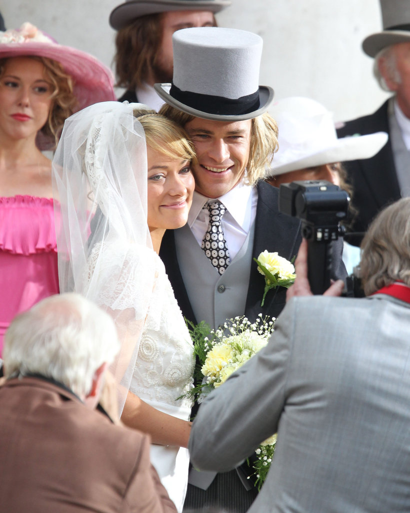 Chris Hemsworth wore a top hat for the wedding scene.