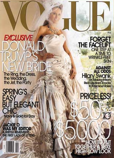 Melania Trump shared a photo of her wedding dress — designed by John Galliano and rumored to be $250,000! — in Vogue following her Jan. 2005 nuptials with Donald Trump.