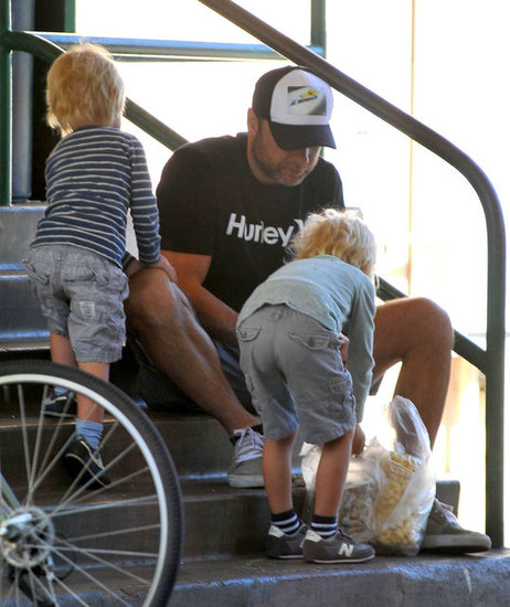 Liev Schreiber hung out with his two sons in LA.