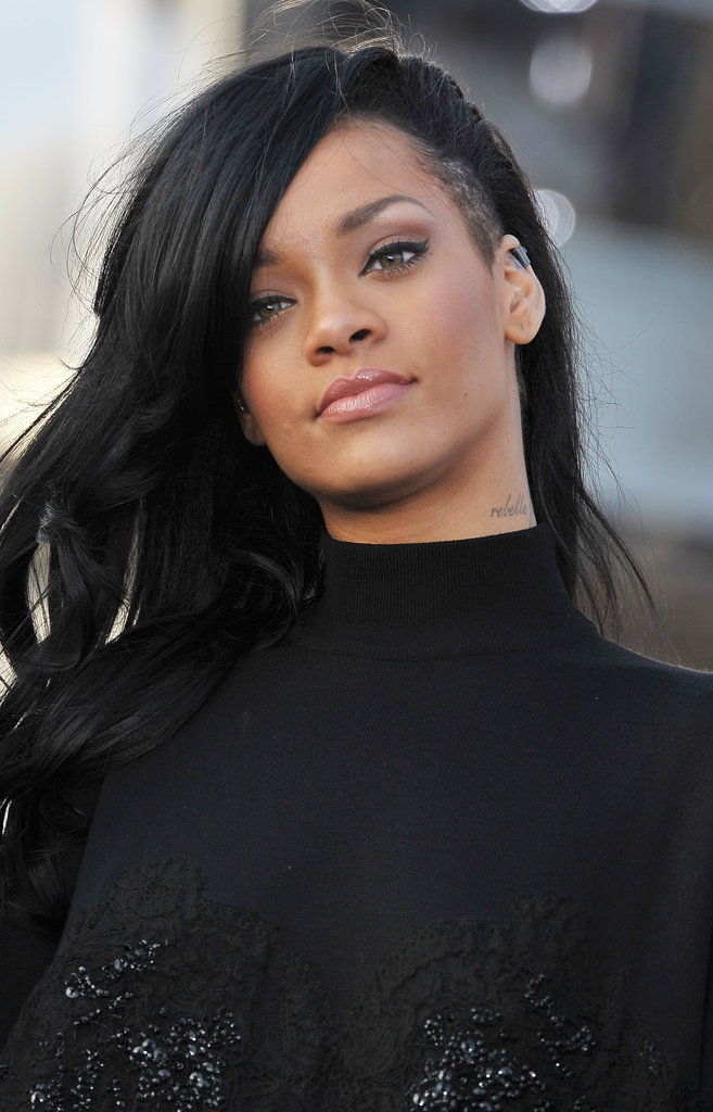 Rihanna Shows Off Her New Dark Hair at a Battleship Event