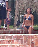 Kim Kardashian hung out in a bikini with Mason.