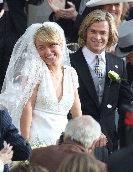 Olivia Wilde was a blushing bride on set.