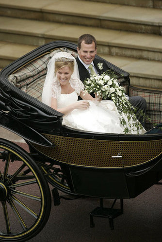 Prince William and Prince Harry's first cousin, Peter Phillips, wed Autumn Kelly in May 2008 at Windsor Castle in England.