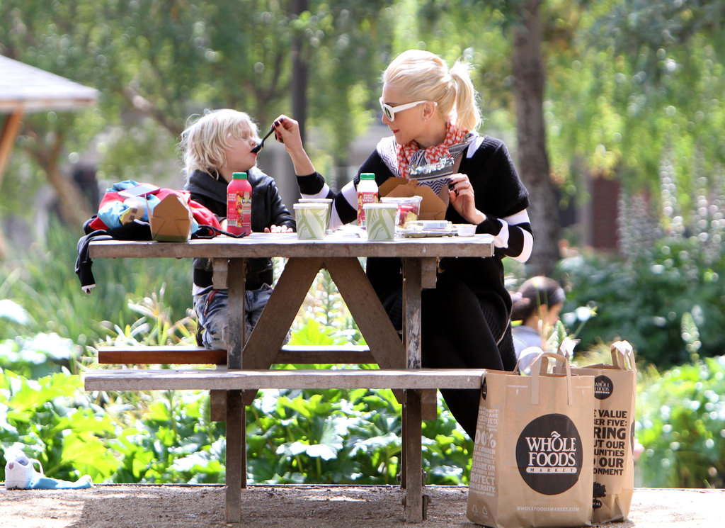 Gwen Stefani spoon fed Zuma during their picnic at an LA playground.