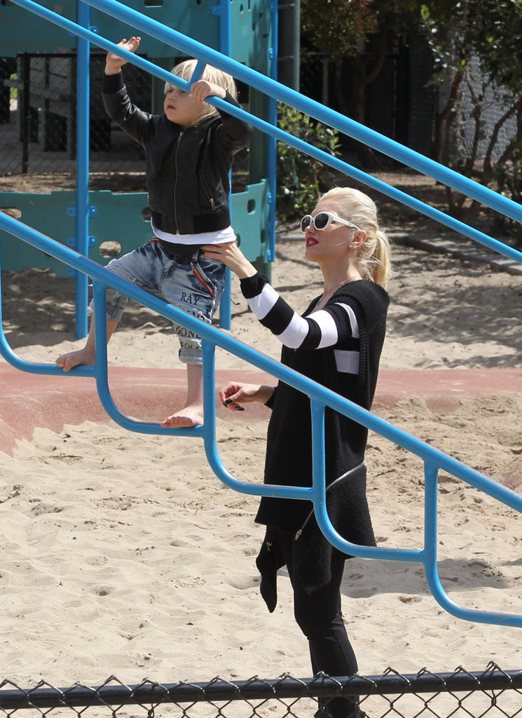 Gwen Stefani watched son Zuma on the playground in LA.