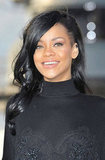 Rihanna wore a black turtleneck while she showed off her dark hair at a Battleship photocall in Japan.