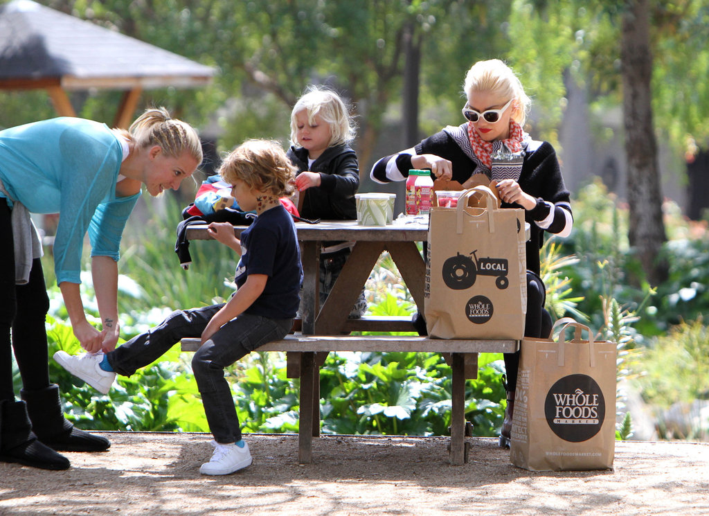 Gwen Stefani had a Whole Foods picnic with sons Zuma and Kingston at an LA playground.