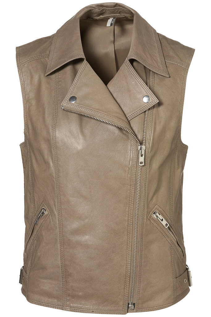 """I've been eying a way to wear Spring leather, and I think I've settled on this perfect neutral vest. I'm never super edgy, so I love how the softer hue tones down the biker-chic vibe, making it more wearable with that same cool-girl effect."" — Hannah Weil, assistant editor  Topshop Leather Sleeveless Biker Jacket ($260)"
