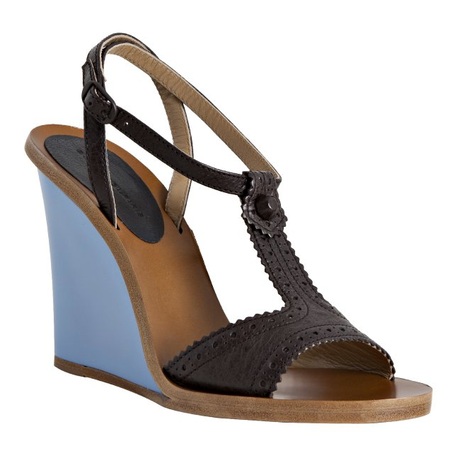 We love the juxtaposition of the textured black T-strap and blue wedge — a statement Spring shoe at its core. Balenciaga Black Leather Resin Wedge T-Strap Sandals ($636)