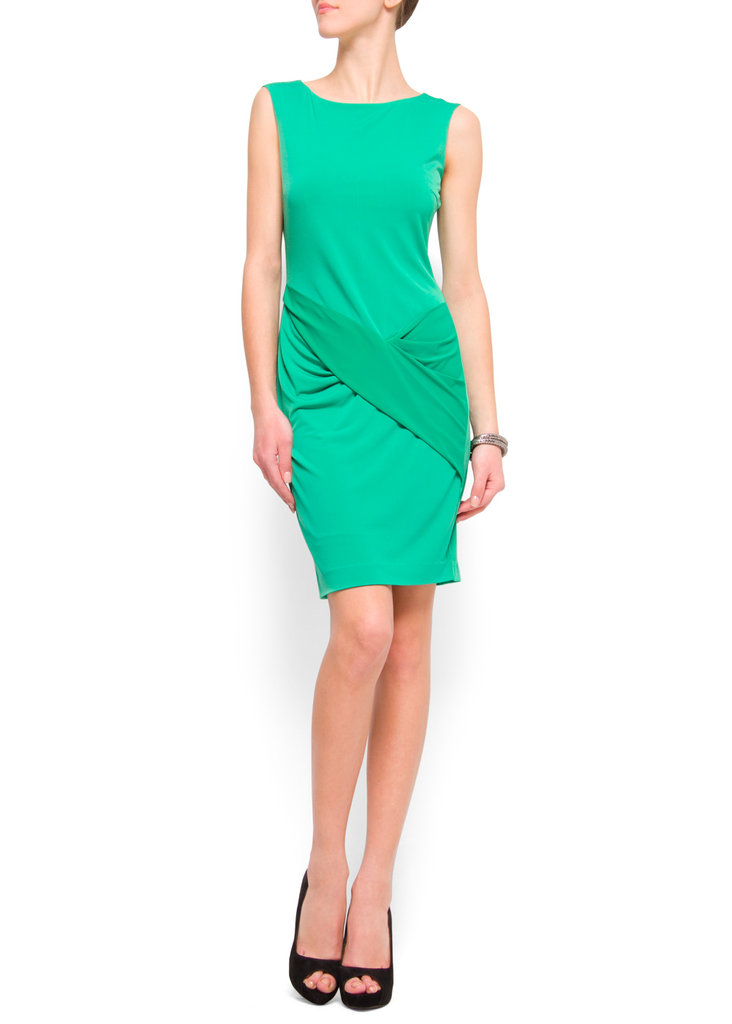 Pair this slim-fitting cocktail dress with a bright necklace or earrings.  Mango Draped Cocktail Dress ($80)