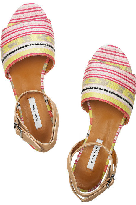 """I like that the colorful stripes aren't quite tribal, but they do remind me of something straight from New Mexico's art scene. Plus, I have a feeling ankle-strap flat sandals will be my Summer sole go-to."" — Marisa Tom, associate editor  Carven Striped Jacquard and Leather Sandals ($595)"