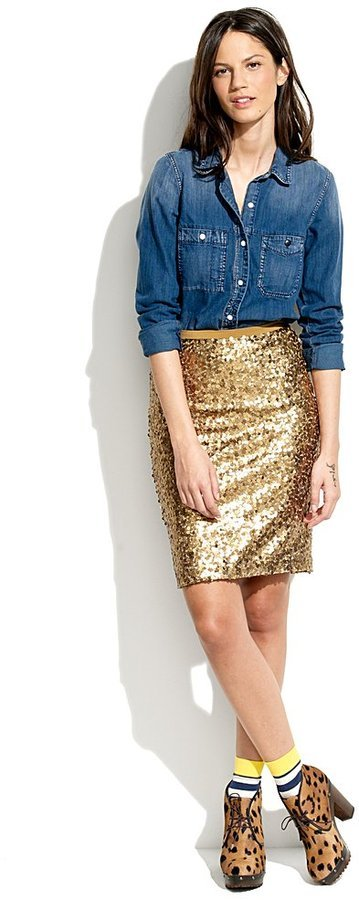 Make a sequined pencil skirt party-perfect by tucking in a black tank or casual denim shirt.  Madewell Sparkler Pencil Skirt ($80, originally $118)