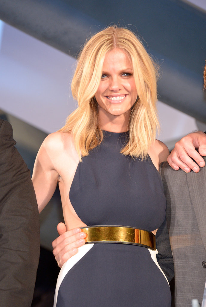 Brooklyn Decker wore navy Stella McCartney to the world premiere.