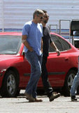 George Clooney went to a set at a Los Angeles airport.