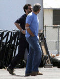George Clooney wore a casual blue t-shirt and jeans as he made his way to a set at a Los Angeles airport.